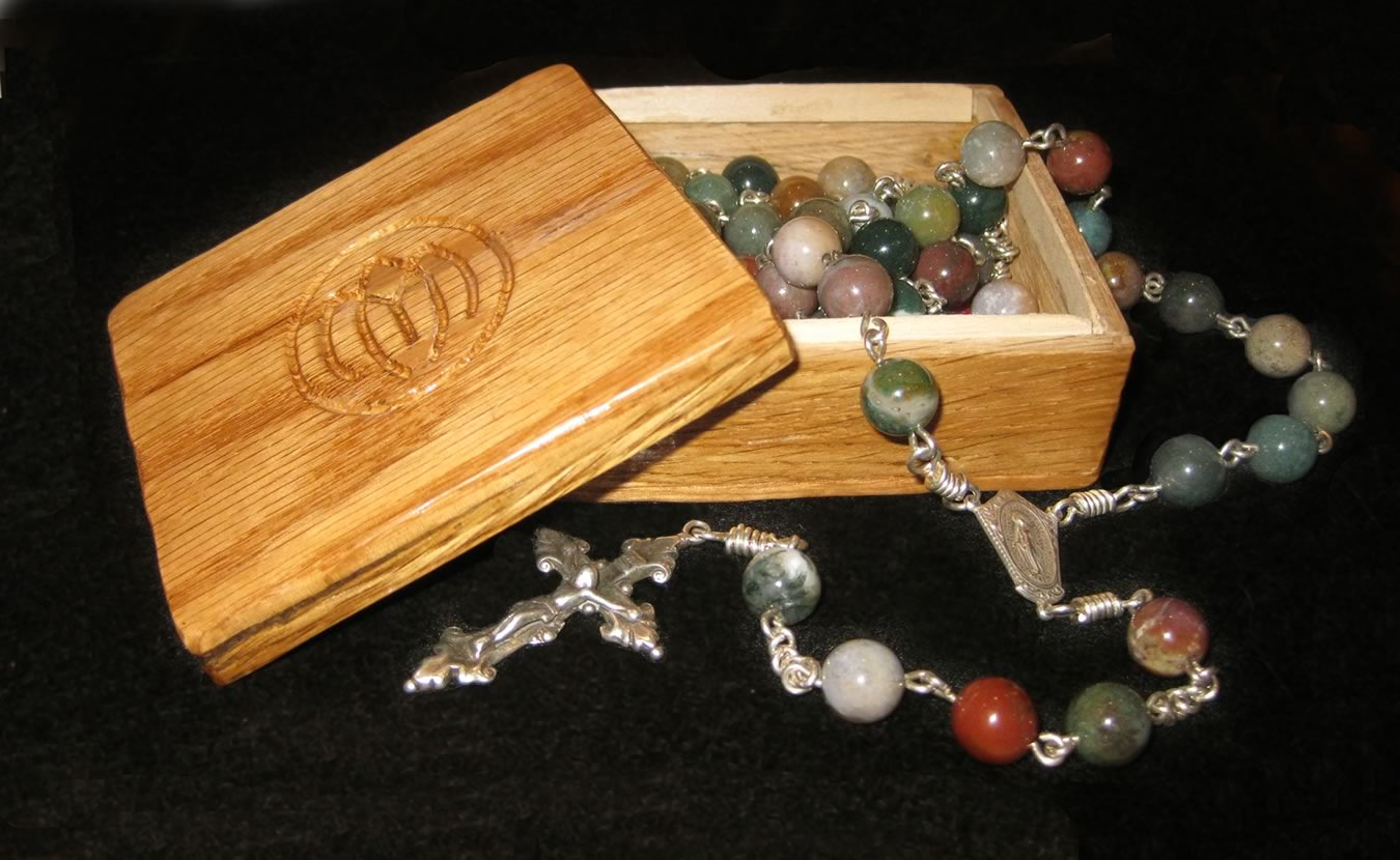 Indian Agate Rosary with Custom Oak Box