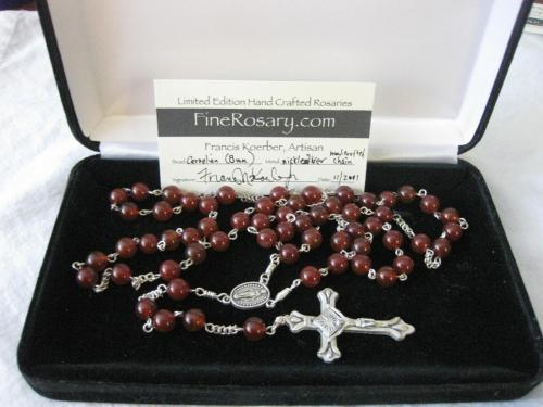 8mm Carnelian Rosary with Cert