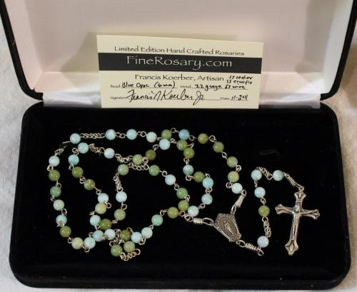 6mm Blue Opal Rosary with Cert
